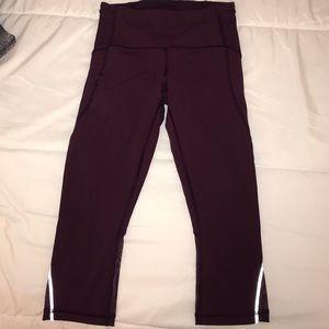 Lululemon purple crop leggings size 4